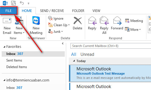 Check mail server vinastar thông qua MS Outlook