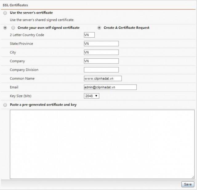 Hướng dẫn cài đặt chứng chỉ SSL lên Directadmin
